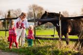Family with kids feeding horse