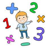 卡通风格数学学习游戏插图。数学算术逻辑运算符符号图标集。学校老师教育使用的模板。可爱的男孩学生素质。计算课.