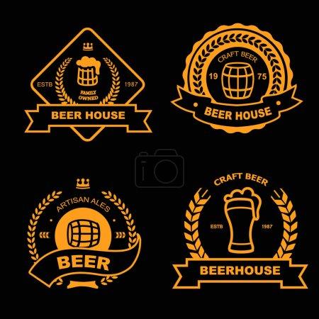 啤酒屋, 酒吧, 酒馆老式金徽章, 标志和设计元素集
