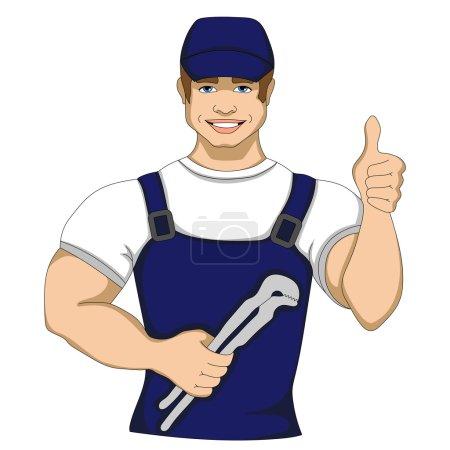 孤立的矢量图的工人服务勤杂工性格的人在一个蓝色的帽子