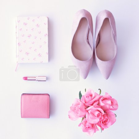 Notebook, shoes, roses, lipsctick