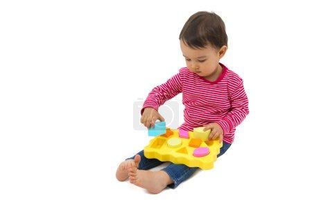 小女孩学习形状,早期教育概念