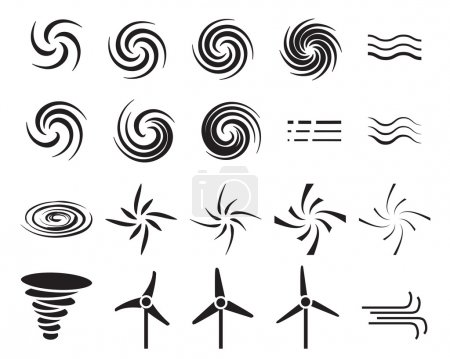 Set of wind icons in many style