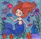 美丽的小美人鱼压克力图