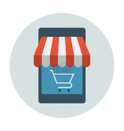 Mobile Shopping Colored Vector Illustration