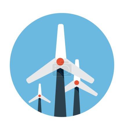 Windmills Colored Vector Icon