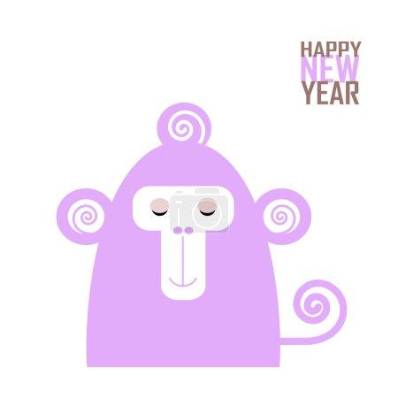 快乐的新年贺卡与猴子为中国新的一年