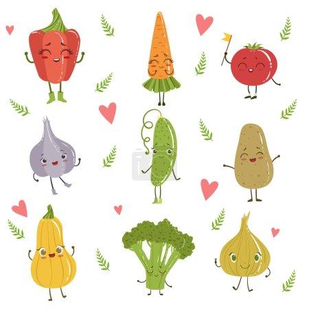可爱的平面卡通搞笑的女性化设计蔬菜套人性化矢量绘制字符