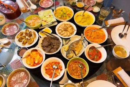 An Asian feast of food