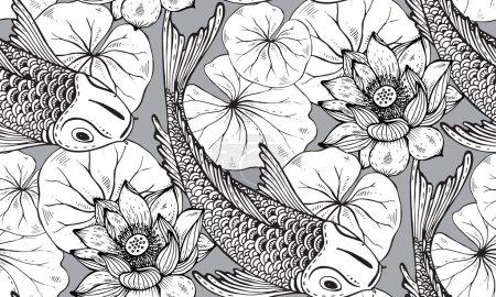 用一只手的无缝矢量模式绘制锦鲤鱼