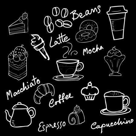 面包店涂鸦黑板卡通矢量图