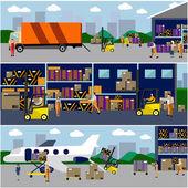 物流和运输的概念平横幅。矢量集卡车,航空运输,航运