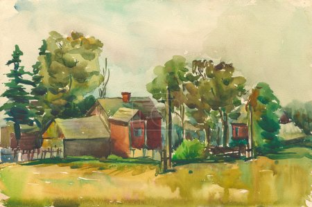 watercolor landscape of old Russian village of the last century