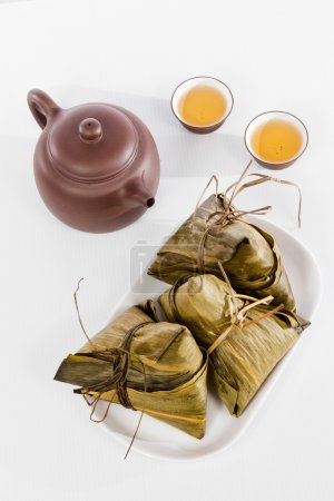Chinese  Dumplings, Zongzi in White Background