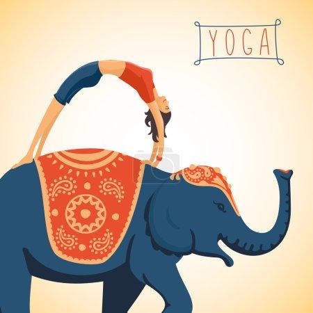 女人做瑜伽对大象