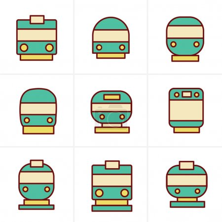 Icons Style Set of transport icons - Train and Tram, vector illu