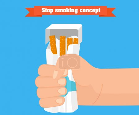Stop smoking concept. Hand crushing a packet of cigarettes vector.