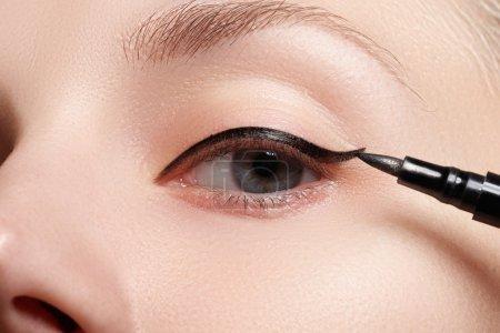 Retro style make-up. Daily makeup detail. Eyeliner. Beautiful eyes_高清图片_邑石网