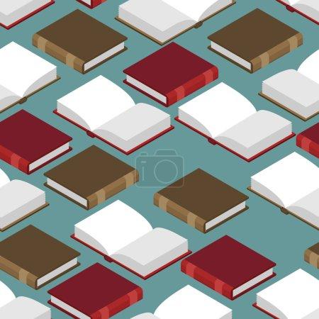 本书等距的无缝模式。红色和绿色的封面。读取容量