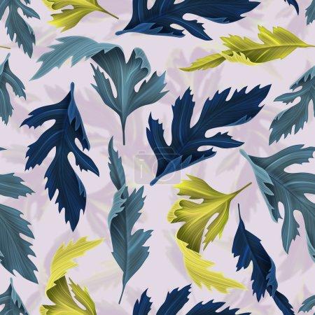 热带树叶无缝的花卉图案,在夏威夷风格