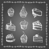 粉笔的甜点和面包产品集