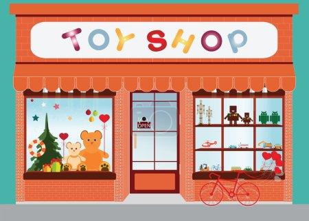 玩具商店橱窗陈列,外部建筑,孩子玩具矢量图