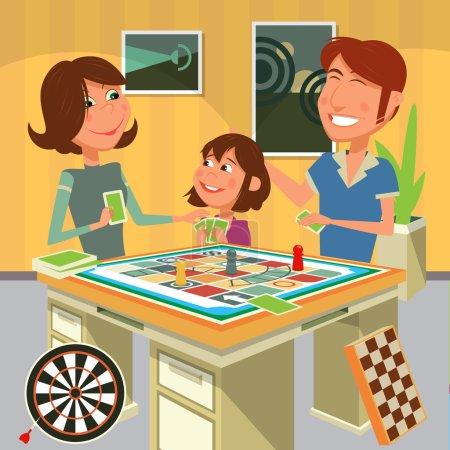 家庭玩棋盘游戏矢量图
