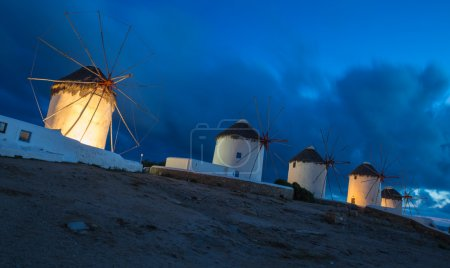 The windmills of Mykonos at blue hour, Greece