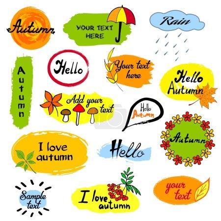 你好,秋天季节问候徽章模板.矢量图的手画的树叶素描.