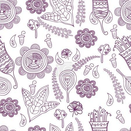 矢量单色花卉图案.无缝花纹理和