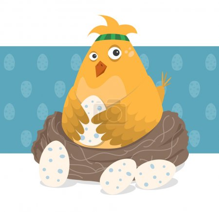 鸟坐在她的蛋巢中