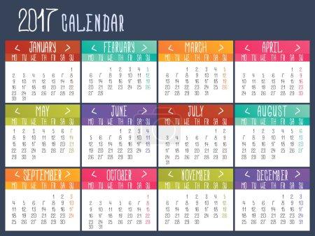 日历模板对 2017 年。日历网格._高清图片_邑石网