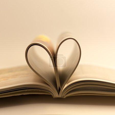 爱的心形状由杂志内页书